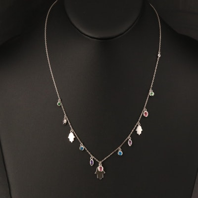 Sterling Hamsa Station Necklace Including Apatite, Sapphire and Amethyst