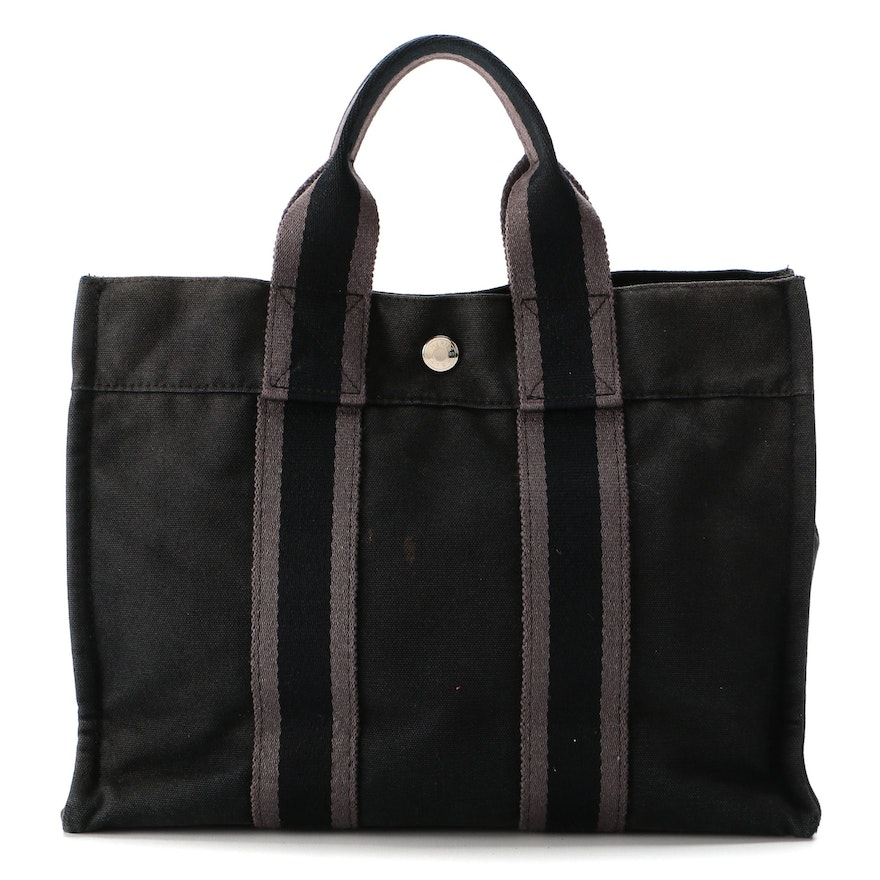 Hermès Fourre Tout PM Tote in Black and Grey Cotton Canvas
