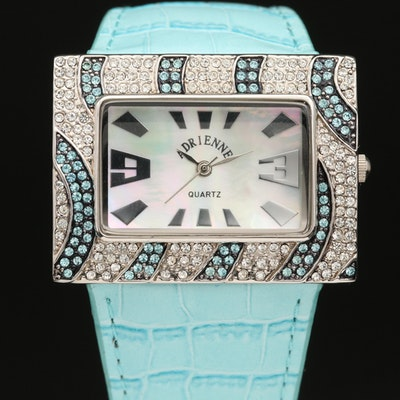 Adrienne Crystal and Mother of Pearl Stainless Steel Quartz Wristwatch