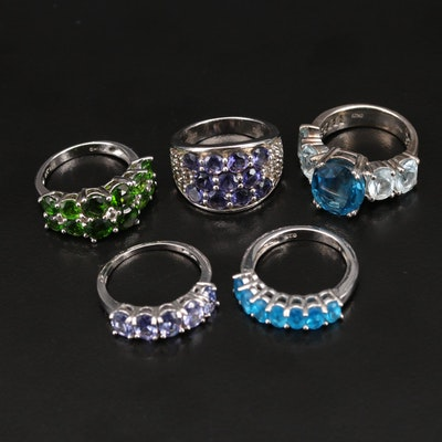 Sterling Silver Apatite, Diopside and Topaz Ring Selection