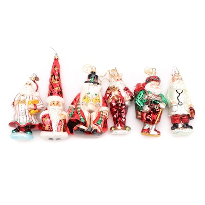 Christopher Radko and Other Santa Themed Blown Glass Ornaments