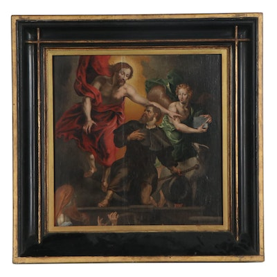 Oil Painting After Peter Paul Rubens of Christ Appointing Saint Roch