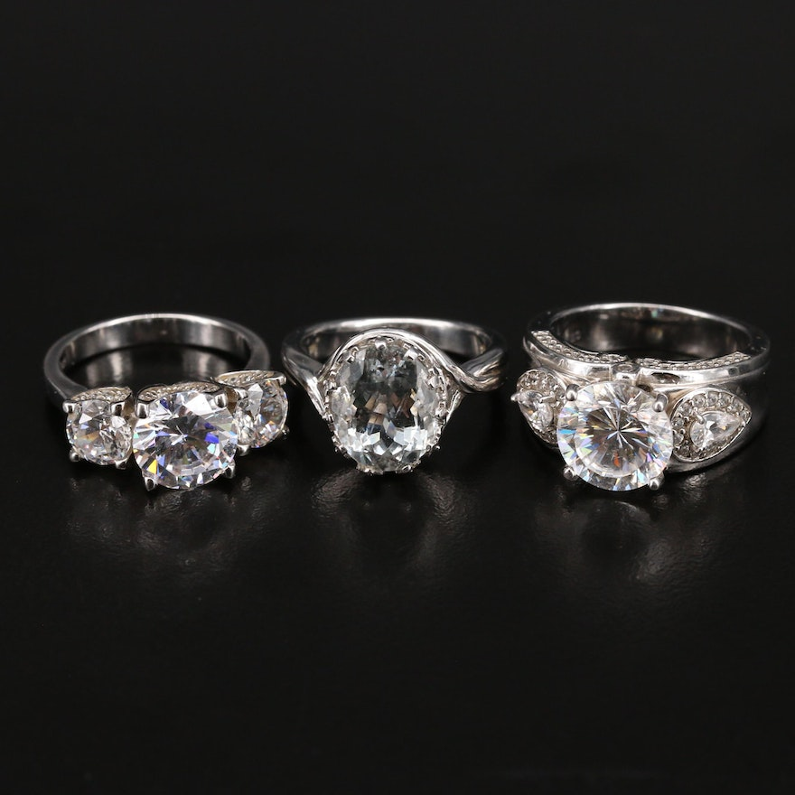 Sterling Rings Including Spinel and Cubic Zirconia