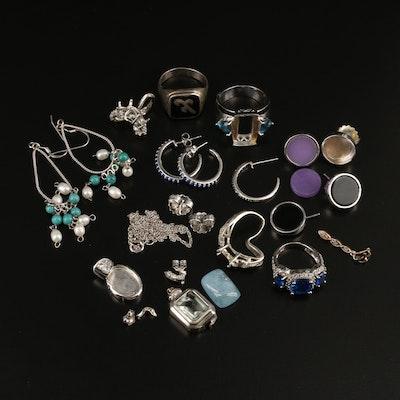 Scrap Jewelry Including Diamond, Topaz, Pearl and Additional Gemstones