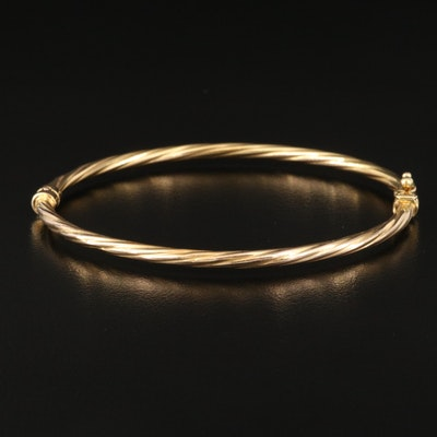 Italian 10K Twisted Cable Hinged Bracelet