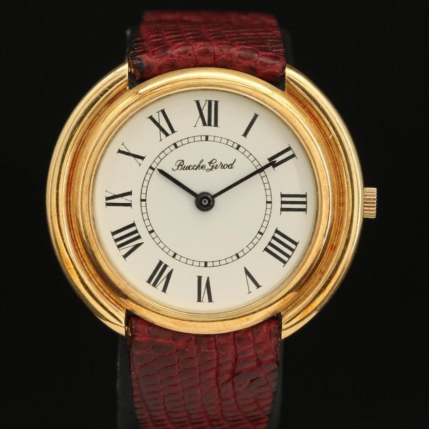 Vintage Bueche-Girod 18K Yellow Gold Stem Wind Wristwatch