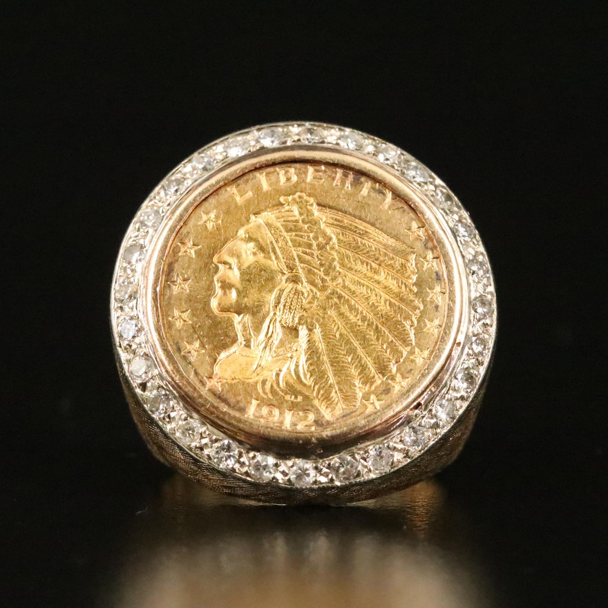1912 Indian Head 14K Coin Ring with Diamond Halo