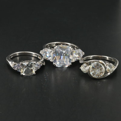 Sterling Silver Tanzanite and Cubic Zirconia Rings