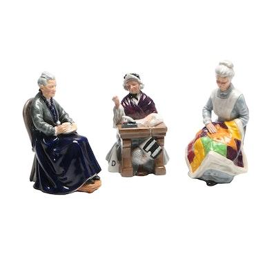 "Royal Doulton Porcelain Figurines ""Schoolmarm"", Eventide"", ""The Cup of Tea"""