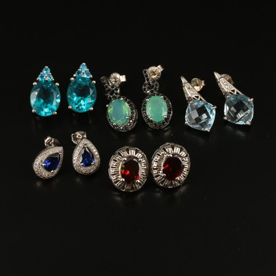 Sterling Earrings Including Opal, Garnet and Topaz