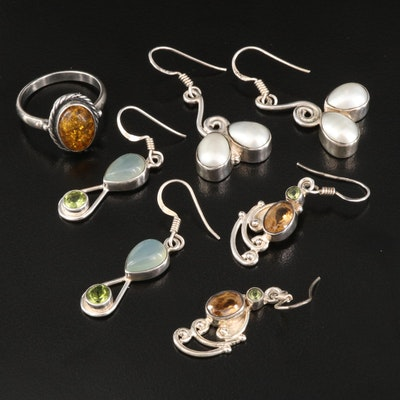 Sterling Ring and Earrings Featuring Pearl, Amber and Chalcedony