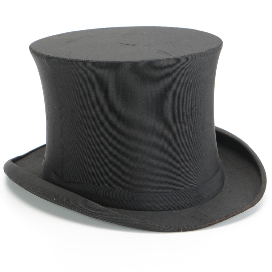 John B. Stetson Collapsible Black Grosgrain Top Hat