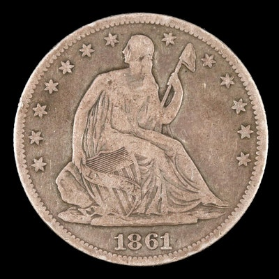 1861 Liberty Seated Silver Half Dollar