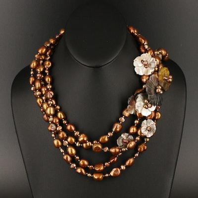 Pearl and Mother of Pearl Carved Flower Necklace