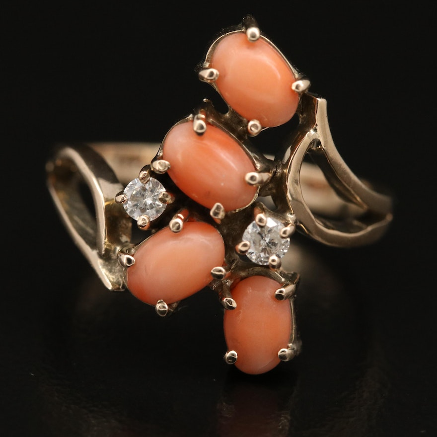 10K Coral and Diamond Ring