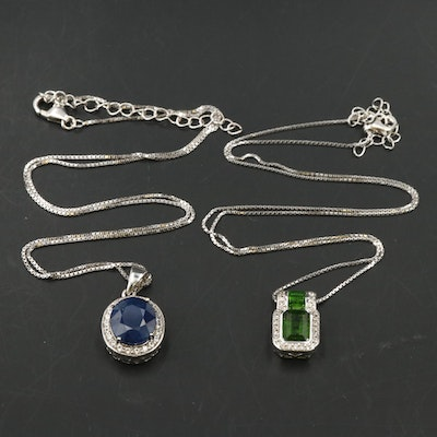 Sterling Silver Sapphire, White Zircon and Diopside Pendant Necklaces