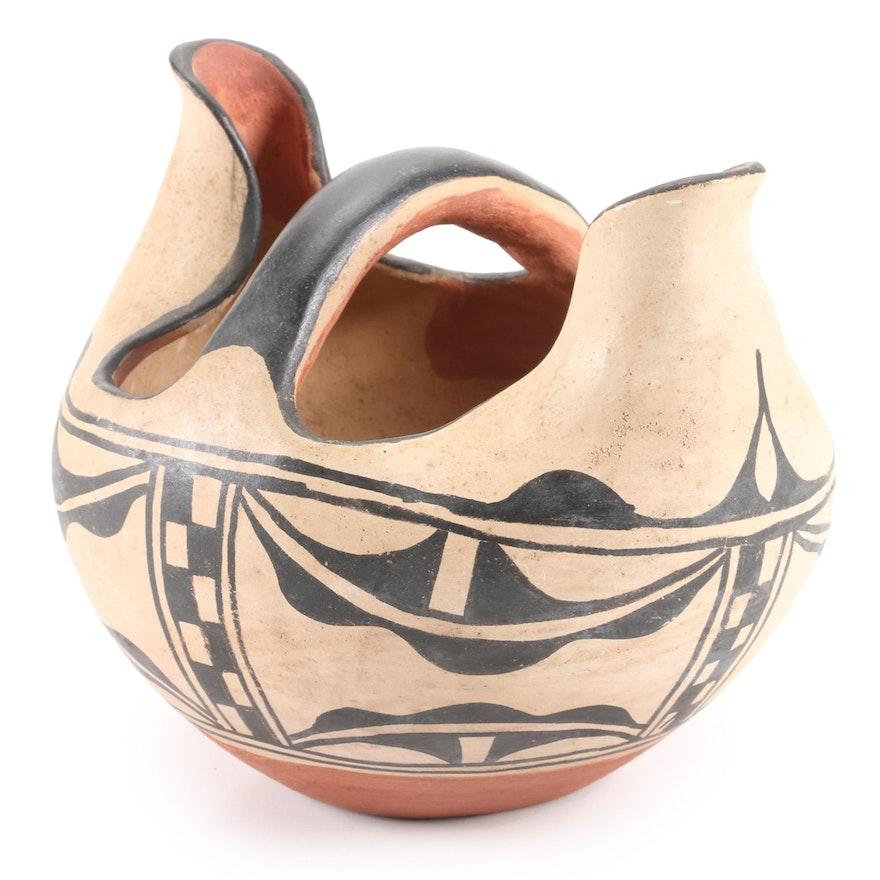 Pueblo Pottery Handled Basket Vase, Probably Acoma, Mid-Late 20th Century