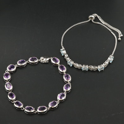 Sterling Bracelets Featuring Diamond, Amethyst and Topaz