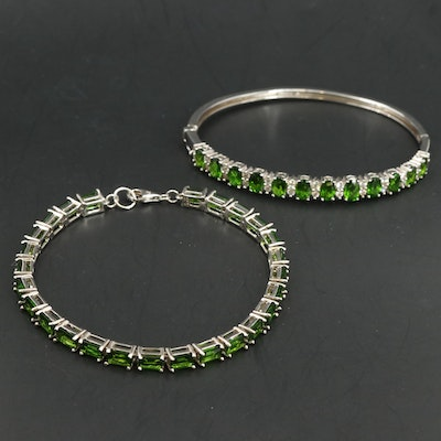 Sterling Silver Line Bracelet and Bangle Featuring Diopside and White Zircon
