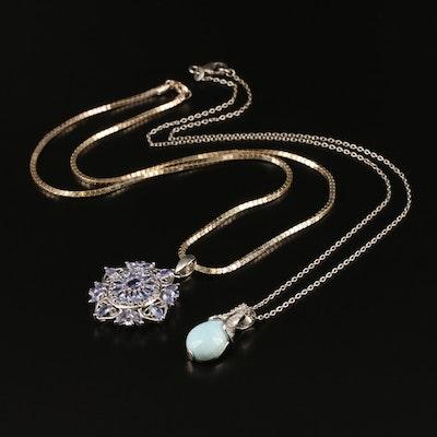 Sterling Necklaces Including Tanzanite, Larimar and Zircon