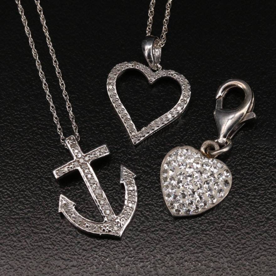 Sterling Anchor and Heart Pendant Necklaces with Heart Enhancer Pendant