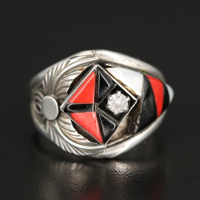 Southwestern Sterling Inlay Ring with Mother of Pearl and Faux Coral