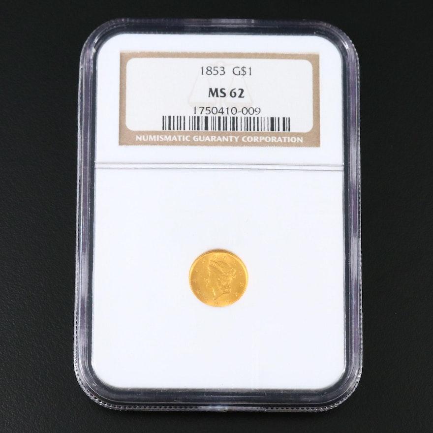 NGC Graded MS62 1853 Liberty Head Type 1 Gold Dollar