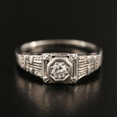 18K 0.11 CT Diamond Solitaire Ring