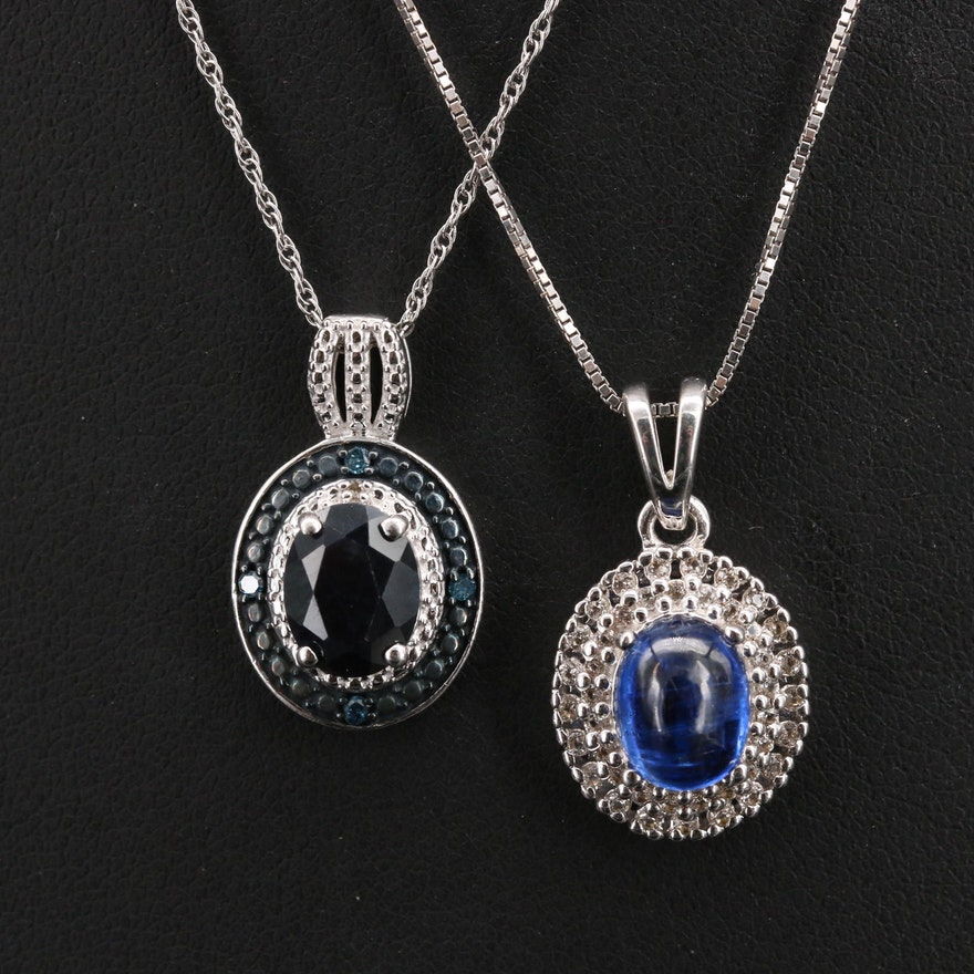 Sterling Pendant Necklaces Including Kyanite, Topaz and Diamond