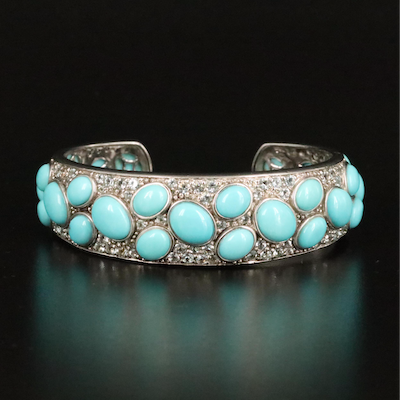 Sterling Turquoise and Topaz Cuff