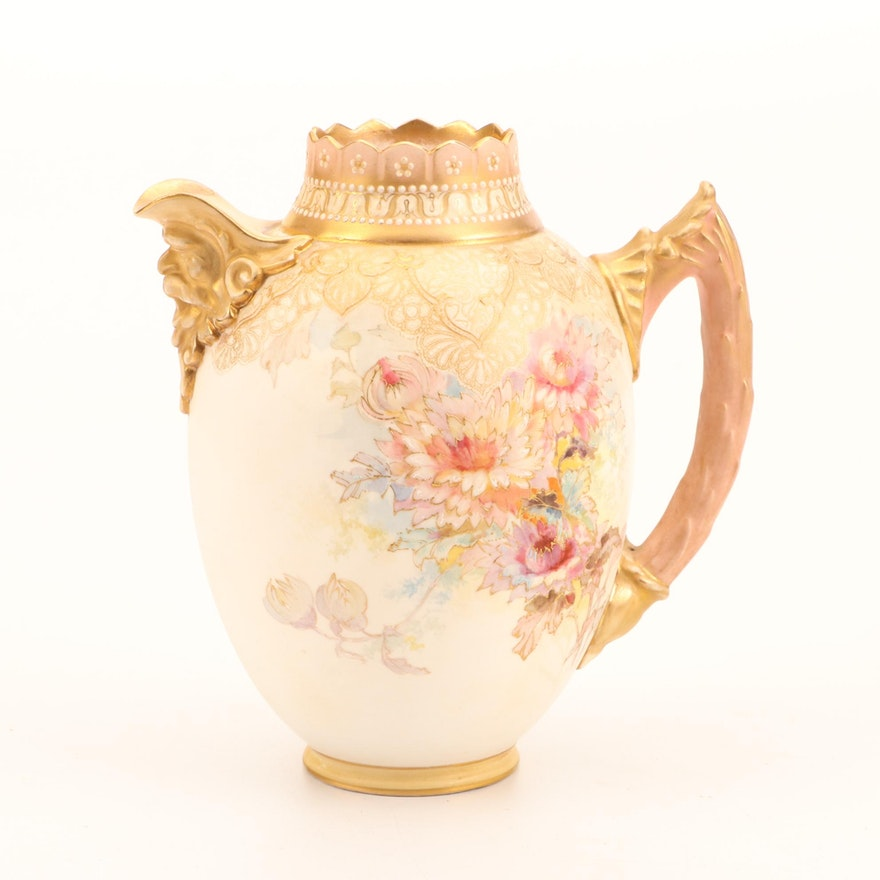 Doulton Burslem Porcelain Floral Motif Pitcher, Late 19th or Early 20th Century