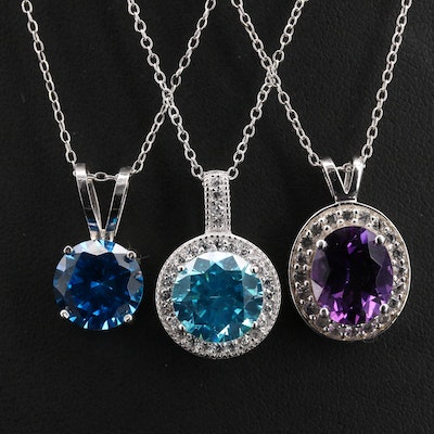 Sterling Pendant Necklaces Including Amethyst, Topaz and Cubic Zircona