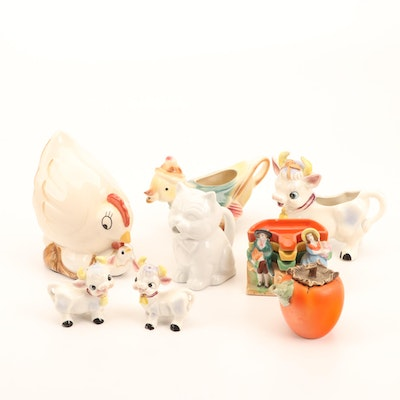 Ceramic Farm Animal and Garden Containers, Chicken String Dispenser, 1950s-1960s
