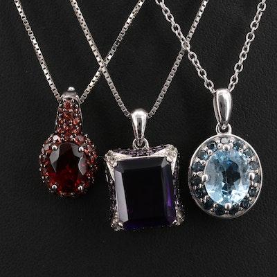 Sterling Necklaces Including Garnet, Amethyst and Topaz