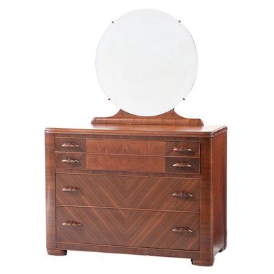 Hibriten Furniture Co. Art Deco Walnut Three-Drawer Dresser, circa 1930