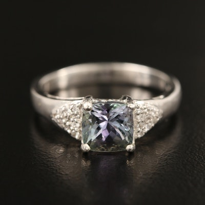Sterling Tanzanite and Zircon Ring