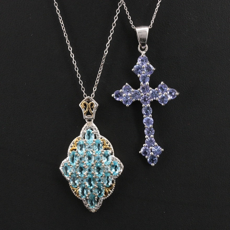 Sterling Diamond and Gemstone Navette and Cross Necklaces
