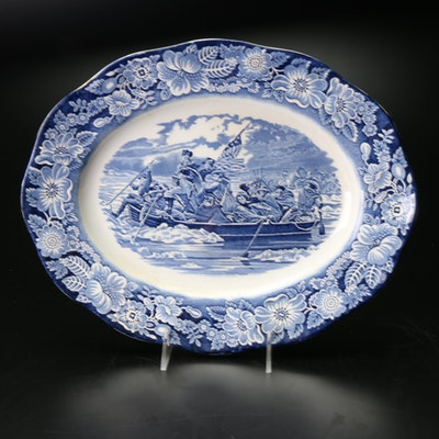 """Booth's """"Liberty Blue"""" Oval Porcelain Platter"""