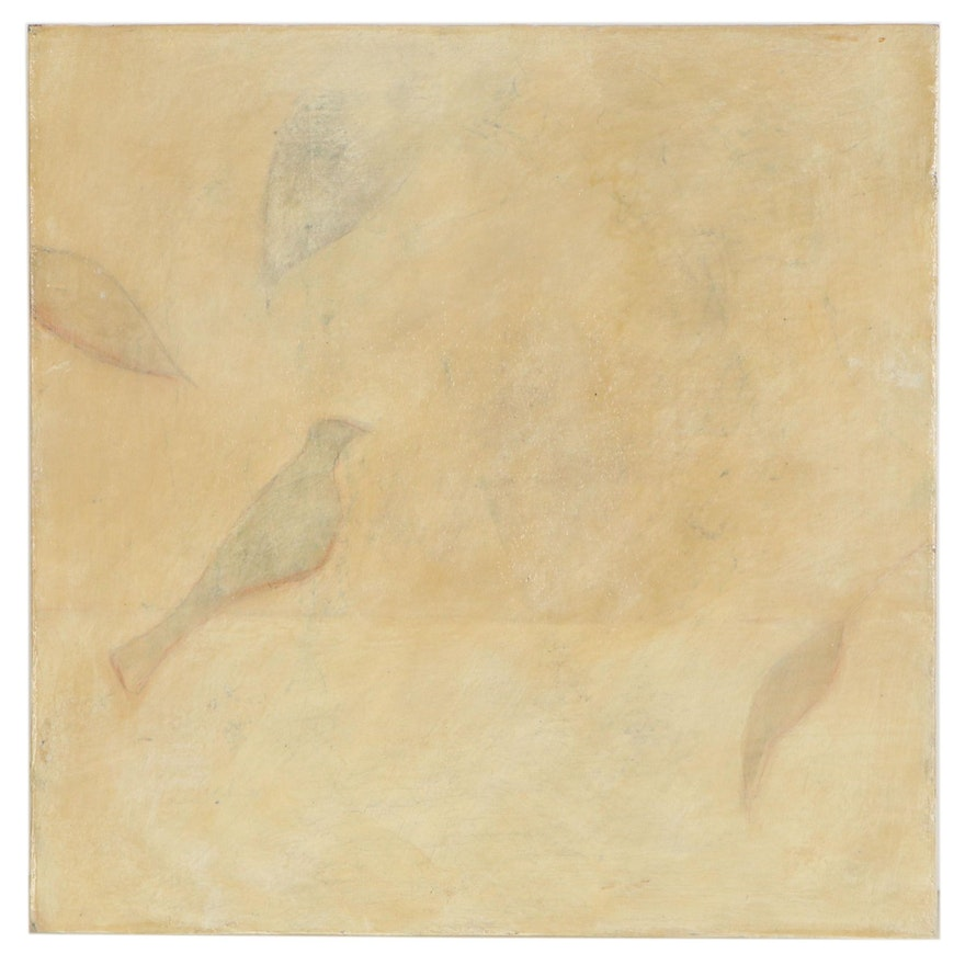 Lynn Whipple Abstract Mixed Media Painting of Birds, Late 20th Century