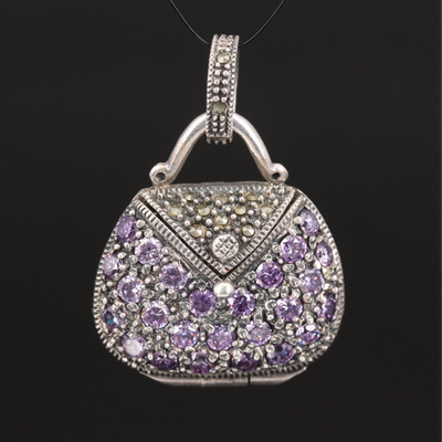 Articulated Sterling Purse Pendant with Cubic Zirconia and Marcasite