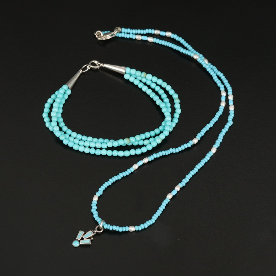 Sterling Faux Turquoise Multi-Strand Bracelet and Necklace with Pearl Accents