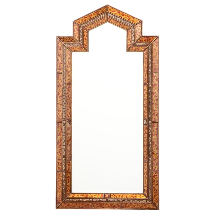 Reverse-Decorated and Beveled Glass Mirror