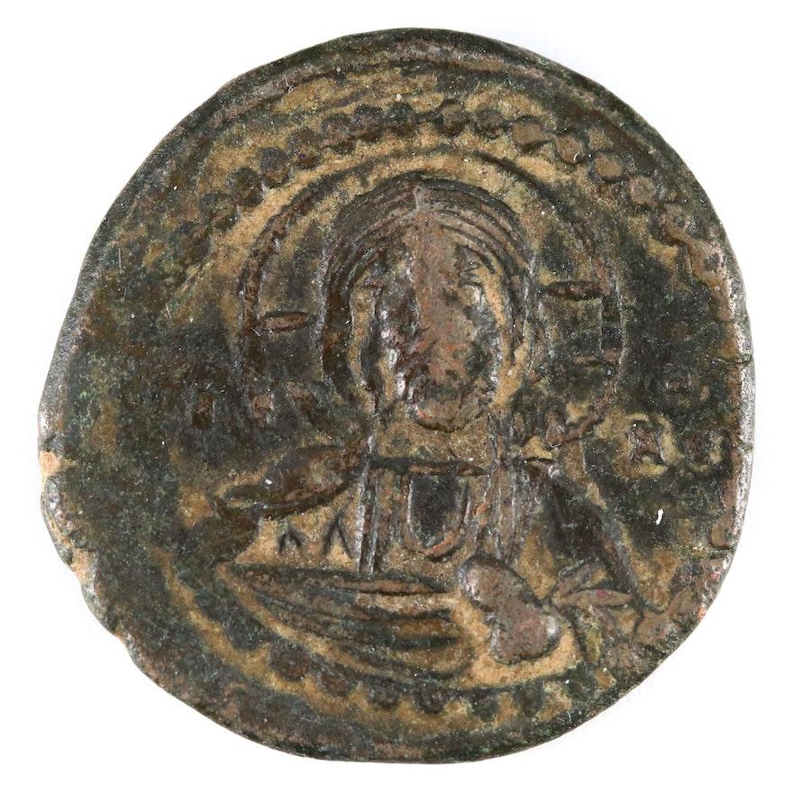 """Ancient Byzantine Class G """"Anonymous"""" Follis Coin, Virgin Mary/Christ, ca. 1068"""