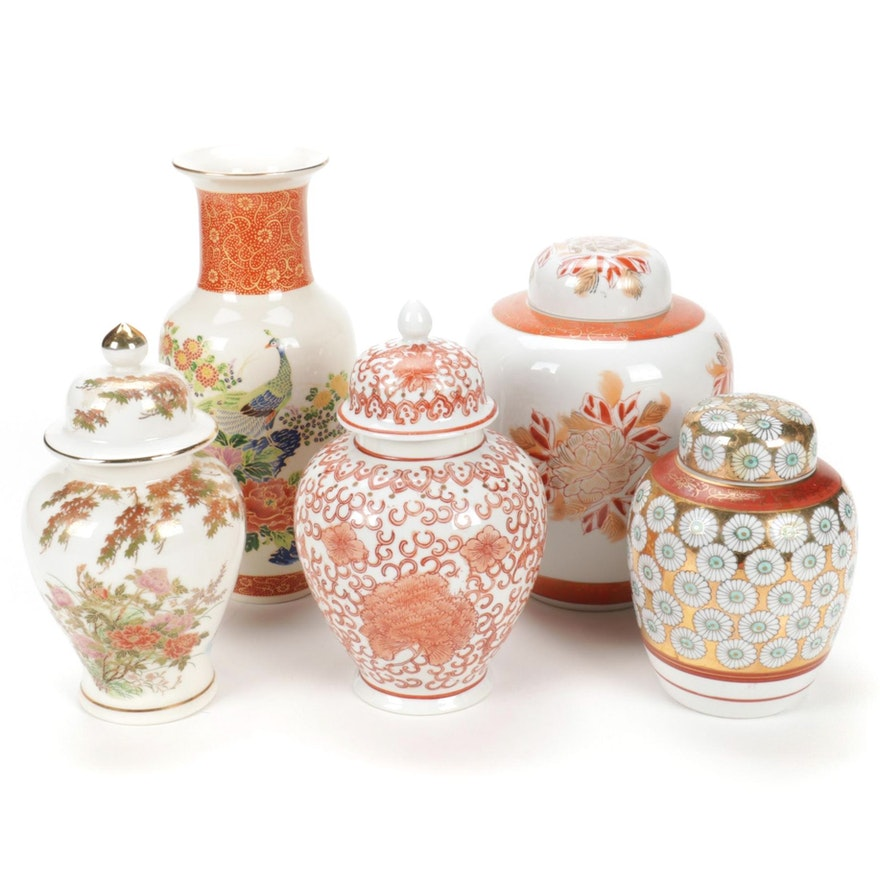 Japanese Satsuma Porcelain Ginger Jars and  Other Vases