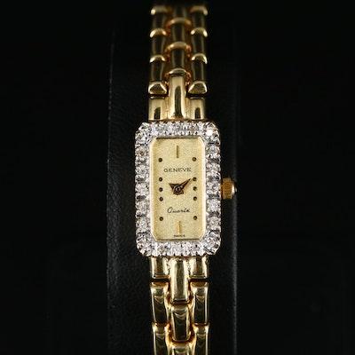 Geneve Diamond 14K Yellow Gold Quartz Wristwatch