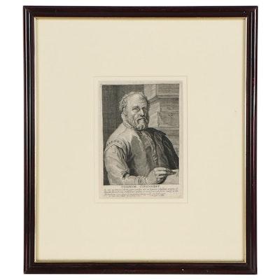 "Franciscus van der Steen Engraving After Hendrick Goltzius ""Theodor Corenhert"""