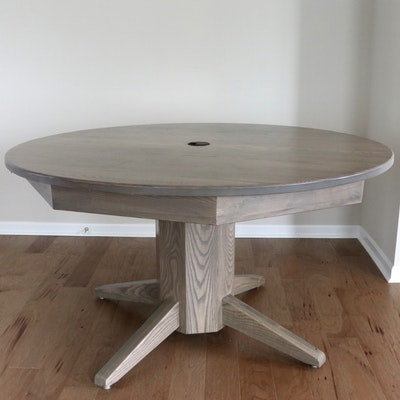 Oak-Grained Circular Conference Table with Power Hub
