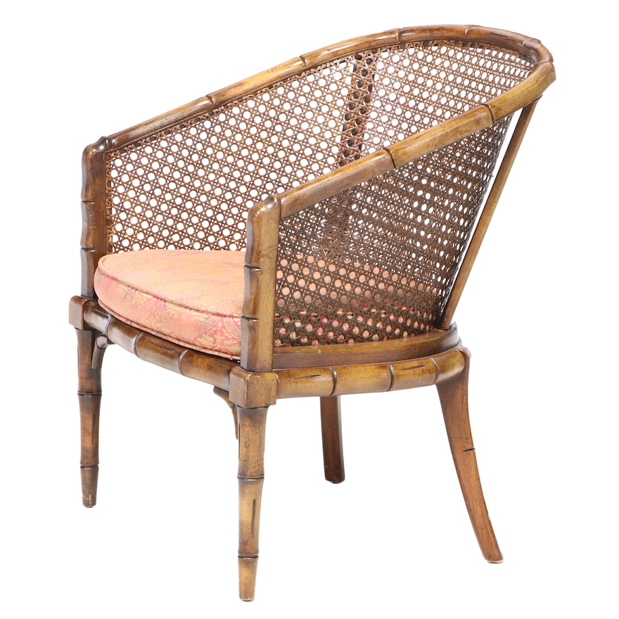 Faux-Bamboo and Caned Tub Chair, Mid to Late 20th Century