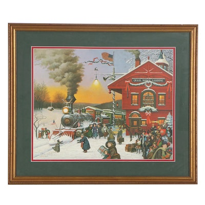 """Charles Wysocki Offset Lithograph """"Whistle Stop Christmas,"""" Late 20th Century"""
