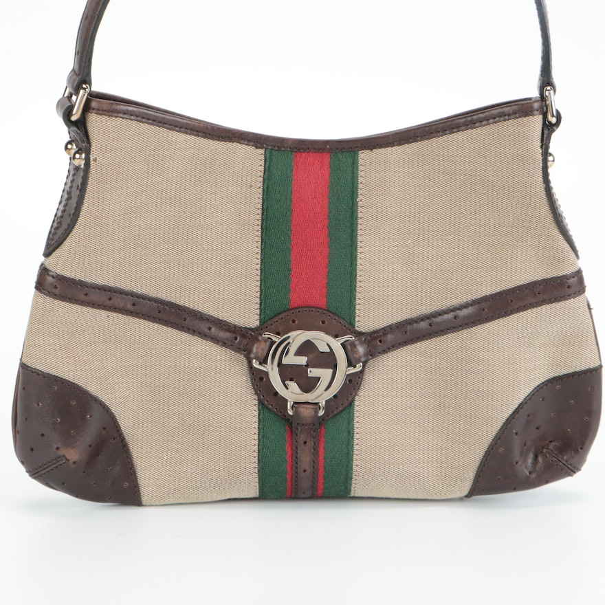 Gucci Reins Hobo Bag in Canvas, Web Stripe, and Brown Leather Trim